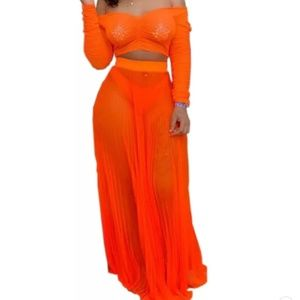 Neon orange two piece set